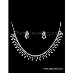 The Art Jewellery - Delicate AD CZ Diamond Necklace Set - Necklaces by The Art Jewellery