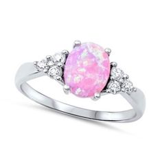 Pink opal clear CZ Sterling silver engagement promise ring sz 4 5 6 7 8 9 10 11  #SolitairewithAccents Pink Opal Ring, Opal Rings, Engagement Ring Photos, Engagement Ring Settings, Cubic Zirconia Engagement Rings, Sterling Silver Flowers, Promise Rings, Fashion Rings, Wedding Jewelry