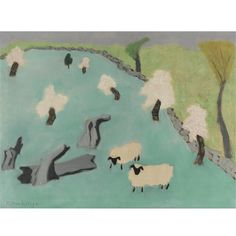 Milton Avery, Sheep in a Landscape