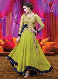 Lime Green Georgette N Net Anarkali Suit