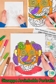Learn art history while creating a Giuseppe Arcimboldo fruit face portrait for Autumn. Fill up your art sub plan folder with no-prep art projects for kids that are easy to implement. Great for arts integration, homeschooling parents, and art teachers wanting to liven up their art lessons with a game. | Glitter Meets Glue #artlesson #art #arthistory #artprojects #giuseppearcimboldo