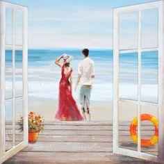 Uitzicht op het strand https://www.schilderijenshop.com/strand-leven-schilderijen/schilderij-strand-100x100-4812