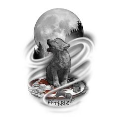 Wolf Cub Howling At The Moon Tattoo Design