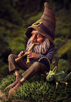 Gnome With Grasshopper by Christopher Elves Faeries Gnomes: with grasshopper. Woodland Creatures, Magical Creatures, Kobold, Elves And Fairies, Gnome Garden, Fairy Art, Fairy Houses, Faeries, Wicca