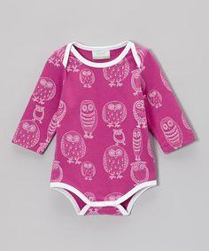 Purple & White Owl Organic Bodysuit - Infant by Nohi Kids #zulily #zulilyfinds