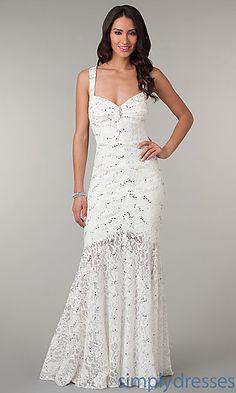 Floor Length Sleeveless Lace Dress at SimplyDresses.com