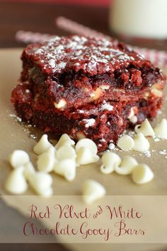 I've been making a version of these gooey bars forever. I finally tried Red Velvet and they are everything I thought they would be! Rich, gooey and addicting! - Little Dairy on the Prairie