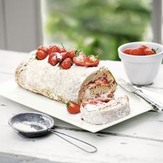 This vanilla and strawberry swiss roll is ready in just 30 minuets.