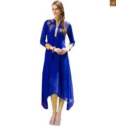 Designer kurti designs long frock style dresses for stylish girl blue pure viscose georgette different cut Long Kurtis, Pakistani Designers, Hijab Fashion, Indian Weddings, Collection, Fabrics, Dresses, Style, Tejidos