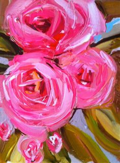 Abstract Roses pink coral by Marendevineart on Etsy