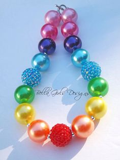 Rainbow Pearl Chunky Necklace on Etsy, $17.00