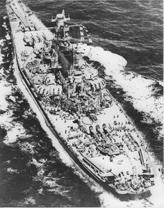 The battleship USS Massachusetts (BB-59) under way sometime in 1943. This angle reveals the immensity of the ship and the abundance of her secondary armament. In her day, just like her sisters, she was a floating fortress that feared no emeny.