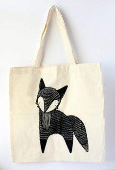 ETSY (Gingiber ) Fox Tote Bag # Fox # Renard # Diy
