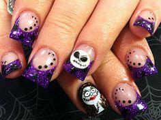 Fun idea Nightmare Before Xmas nail art Xmas Nail Art, Holiday Nail Art, Xmas Nails, Christmas Nail Art Designs, Holiday Fun, Holiday Ideas, Love Nails, How To Do Nails, Fun Nails