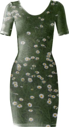 Daisies Short Sleeved Bodycon Dress - Available Here: http://printallover.me/products/0000000p-daisies-23