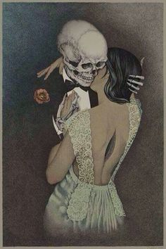By Bubug. Death and the Maiden. Death grim reaper Father Time scythe maiden girl woman dance danse macabre skull skeleton by paige Inspiration Art, Art Inspo, La Danse Macabre, Macabre Art, Arte Obscura, Skeleton Art, Skeleton Love, Arte Horror, Horror Art