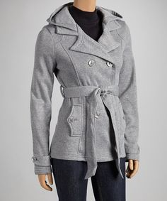 Heather Gray Fleece Notch-Collar Coat DYT type 2 coat Keep Warm 550cfc2dc