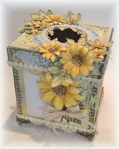What an awesome idea for a tissue box!  Prior pin: Blog Candy Winner and Sunflower Tissue Box Inspiration