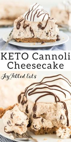 Cannoli Cheesecake - Low Carb, Keto, Grain-Free, Gluten-Free, Sugar-Free, THM S - Cannoli cheesecake is sinfully delicious with light, creamy filling. It's perfect for year-round entertaining and to have as an easy dessert. This cheesecake recipe has classic flavors of cinnamon and chocolate, and you only need 9 ingredients + 15 minutes of prep. #lowcarb #lowcarbrecipes #lowcarbdiet #keto #ketorecipes #ketodiet #thm #trimhealthymama #glutenfree #grainfree #glutenfreerecipes #recipes… Keto Cake, Low Carb Cake, Low Carb Cookies, Low Carb Sweets, Keto Cheesecake, Low Carb Keto, Low Carb Recipes, Keto Cupcakes, Vegetarian Recipes