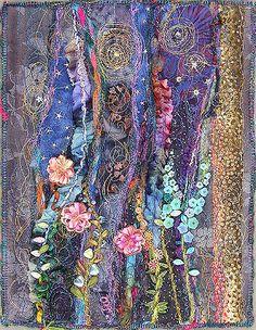 Night Garden, small art quilt ~By molly jean hobbitI ❤ it . Night Garden, small art quilt ~By molly jean hobbit Crazy Quilting, Patchwork Quilting, Crazy Patchwork, Quilting Ideas, Quilt Patterns, Block Patterns, Art Quilting, Art Fibres Textiles, Textile Fiber Art