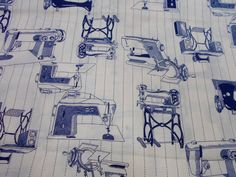Sewing Machine Fabric 1 yd Cotton Remnant Sewing by StitchKnit