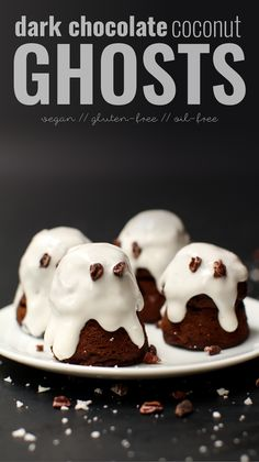 Dark Chocolate Coconut Ghosts #vegan #glutenfree #halloween #cake