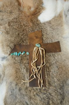 Turquoise and Fringe Wall Cross by HollyHawkDesigns on Etsy, $25.00