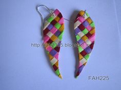 Handmade Jewelry - Paper Weaving Leaves Earrings (FAH225) (2)