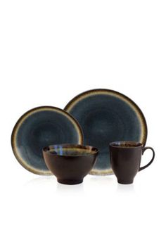Baum Brothers Blue Galaxy Coupe Denim 16-Piece Dinnerware Set