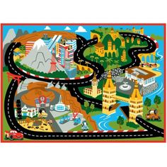 "The Disney Cars Mount Fuji Game Rug lets children live out their favorite Disney movie ""Cars."" With this rug, children can race to the finish with their favorite character Lightning McQueen."