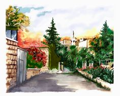 Jerusalem - The Tower of David  Watercolor by Menahem Lavee