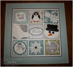 Toni Tessler (tonistamps) Independent Stampin Up Demonstrator. Winter Inchy Framed art Stampin' Up polar bear penguin snowflakes ice skates snowman frosty punch art Box Frame Art, Shadow Box Frames, Box Art, Paper Christmas Decorations, Christmas Paper Crafts, Christmas Frames, Christmas Cards, Winter Crafts For Kids, Frame Wall Decor