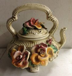 Capodimonte Italy Porcelain Tea Pot Bowl Floral Pot with Lid | eBay