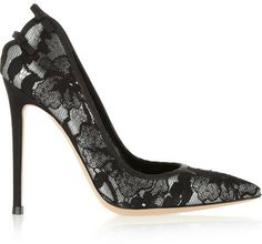 Gianvito Rossi Lace-covered leather pumps