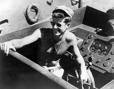 Lt. (JG) John F. Kennedy aboard the PT-109 in the South Pacific, 1943. (Photograph in the John F. Kennedy Presidential Library and Museum, Boston)