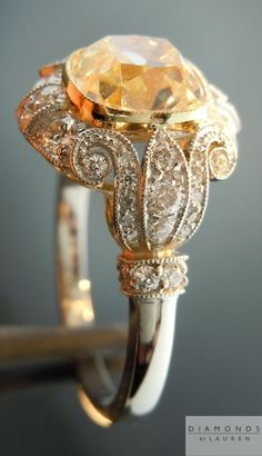 Wow...Kro!♥ yellow diamond antique style ring. I love the detail of this ring. beautiful.