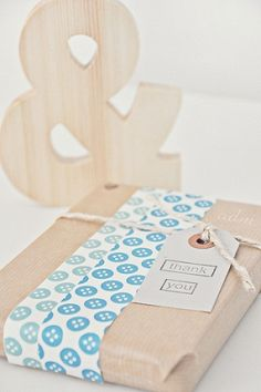 washi tape and kraft paper complete with a tag for gift wrapping!