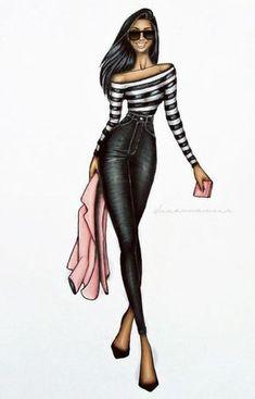 Fashion illustration / croqui de moda. Blusa de manha longa listrada + calça preta de Cintura Alta + jaqueta rosa e salto.