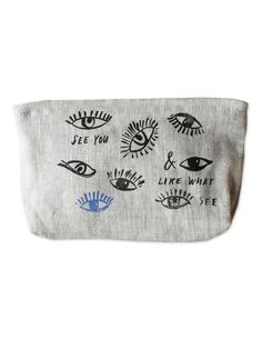 """Sustainable Linen Makeup bag: Eye See You   Sycamore Street Press Theselinen zip bags from Linea Carta fit all of the essentials: keys, phone, wallet, & sunglasses —. or use it as a make.up, art supply, or travel pouch!. 5"""" x 5"""".Screen.printed. Non.toxic, water.based ink. 100% sustainablelinen. Made in the USALinea Carta,Italian for """"paper line"""" or """"paper collection"""", is made byDiva Pyari, offering a comprehensive eco.friendly (and eco.cute!) line of luxury stationery and gifts fo..."""