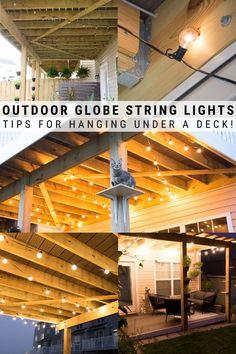 Porch String Lights, Hanging Patio Lights, Globe String Lights, Patio Lighting, Lighting Ideas, Outdoor Ideas, Backyard Ideas, Porch Ideas, Outdoor Spaces