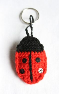 A little fun keyring which uses just remnants of red and black yarn and a few sequins for a little bit of sparkle. Please download for free if you would like to make it. Ladybird Keyring Pattern