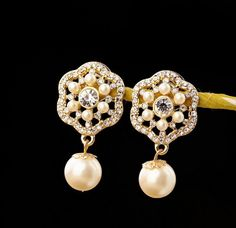 Pearl dangle Flower Earring pin,Statement Earring pin, Party /Wedding /Gift Earring , Earring Jewelry on Etsy, $5.00