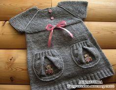 Одежда для девочек, ручной работы. Ярмарка Мастеров - ручная работа. Купить Вязаный сарафан-туника для девочки. Handmade. Серый