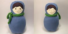 Ivan the Blue matryoshka doll made out of a men's shirt.  By Little Birdie