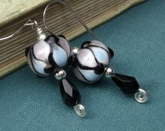 Harlequin Black Glass Beads Earrings by nicholasandfelice on Etsy, $ 14.50