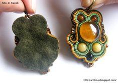 Tuto Soutache Pendant - Polish Tuto with Many Pictures - bazardekoracji. Soutache Pendant, Soutache Jewelry, Beaded Jewelry, Beaded Necklace, Ribbon Jewelry, Diy Jewelry, Jewelry Making, Soutache Tutorial, Macrame Tutorial
