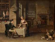 John S.C. Schaak (active Westminster 1761-1769) A tavern interior with a gentleman being served dinner by a maid in the foreground, an army officer and other figures in a kitchen beyond
