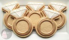 Diamond Engagement Ring Cookies - One Dozen Decorated Sugar Cookies