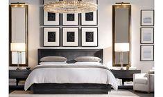CocosCollections: 12 Unique and Elegant Restoration Hardware Bedroom Design Next Bedroom, Master Bedroom Design, Home Decor Bedroom, Bedroom Ideas, Bedroom Furniture, Black Furniture, Furniture Hardware, Furniture Layout, Sectional Furniture