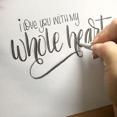 I'm often asked how I keep my words so straight. For the most part, (only for the videos anyway), I eyeball it. But on this particular design the words 'I love you with my' were written on two faintly drawn parallel lines. I wanted to make sure that on this portion each letter remained the same height.